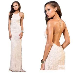 New Scala Sequin Beaded Prom Evening Dress Sz 2